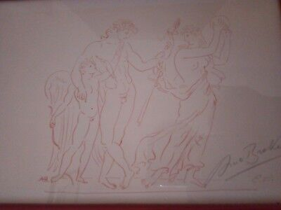 """ARNO-BREKER-1926-1991 Lithographie """" Götter?"""" in rot mit Signatur E A"""