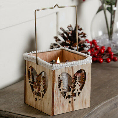 Woodland Style Reindeer Cut Out Heart Rustic Candle Lantern w/ Pom Pom Trim