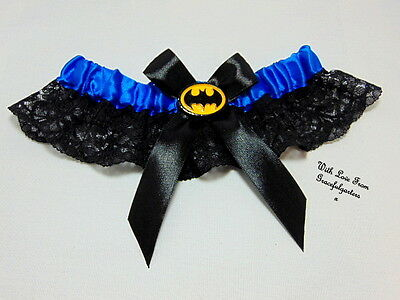 Batman Blue lace Bridal Wedding Garter.