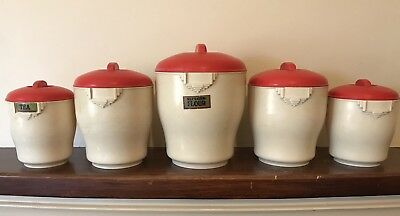 Mid Century Vintage Set of Five Red and White Bristolite Canisters