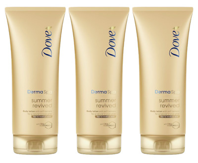 3x Dove Derma Spa Summer Revived Gradual Tan Body Lotion Fair to Medium 200ml