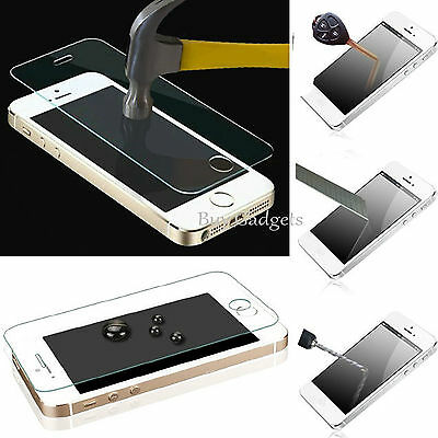 3 x TOUGH REAL TEMPERED GLASS FILM SCREEN PROTECTOR FOR APPLE IPHONE 5 SE 5C 5S