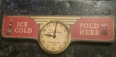 Vintage ' Ice Cold Delicous Strawberry Soda Sold Here ' Hanging Wall Clock