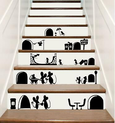 Mouse Hole Funny Washing Mice Home Skirting Board Vinyl Wall Decal Art Sticker