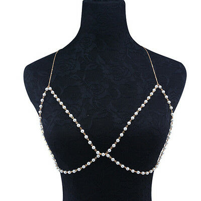 Women Pearl Bra Bikini Beach Harness Necklace Waist Belly Body Chain Jewelry