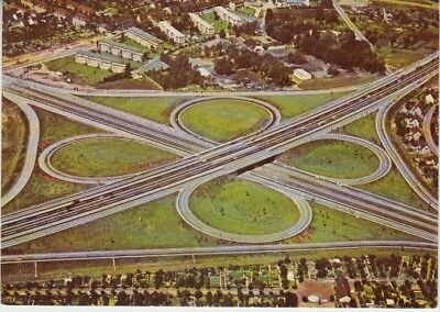 Germany (W) - Construction of Clover Leaf Bypass on Autobahn (Post Card) 1960's