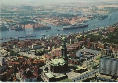 Germany (W) - View of Hamburg, Cathedral & River (Post Card) 1960's