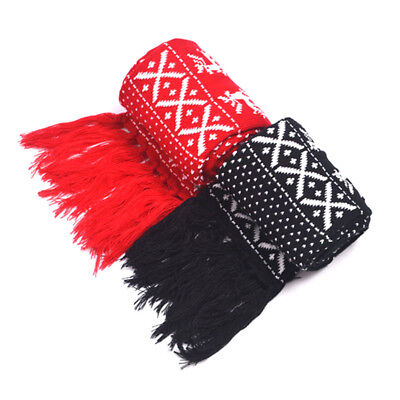 Reindeer Nordic Design Fringed Knit Scarf Christmas Red and Black Warm Winter