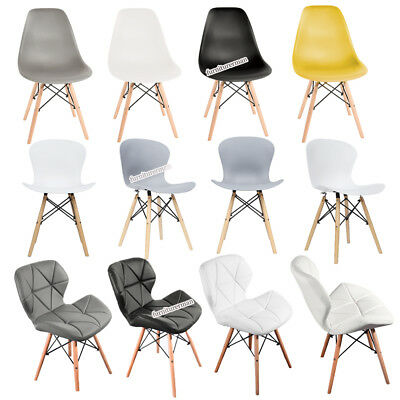 Eiffel Retro Style Plastic Dining Office Chair Wooden Legs Lounge Padded Seat UK