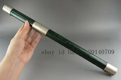 Chinese handwork old Tibet-Silver Carved Dragon antique Jade Flute