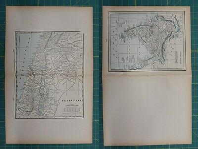 Palestine Indian Empire Vintage Original 1893 Columbian World Fair Atlas Map Lot