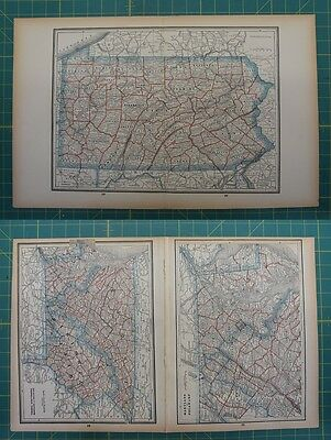 Pennsylvania MD DE VA WVA Vintage Original 1893 Columbian World Fair Map Lot