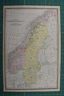 Sweden Norway Vintage Original 1892 Rand McNally World Atlas Map Lot