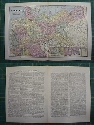 Germany Vintage Original 1895 Werner Company World Atlas Map Lot