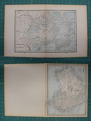 China Australia Vintage Original 1893 Columbian World Fair Atlas Map Lot