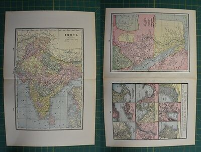 India Egypt Vintage Original 1895 Werner Company World Atlas Map Lot