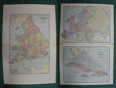 England Wales Europe Cuba Vintage Original 1895 Werner Company Atlas Map Lot
