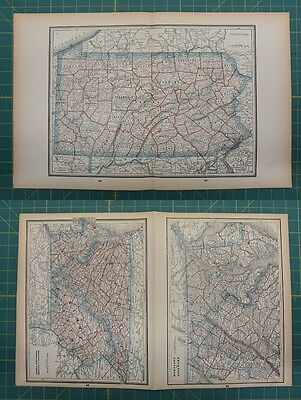 Pennsylvania MD DE VA WVA Vintage Original 1893 Columbian World Atlas Map Lot