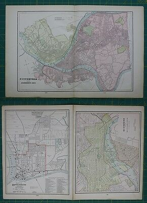 Pittsburg Richmond Parkersburg Vintage Original 1897 Cram's World Atlas Map Lot