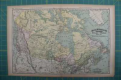 British America Vintage Original 1894 Rand McNally World Atlas Map Lot