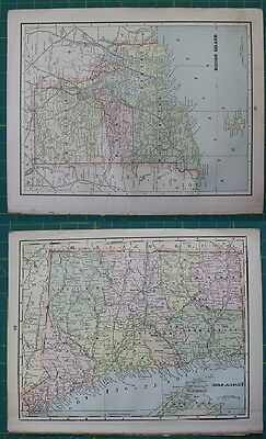 Rhode Island RI Connecticut CT Vintage Original 1897 Cram's World Atlas Map Lot