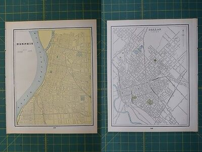 Memphis Dallas Vintage Original 1895 Werner Company World Atlas Map Lot