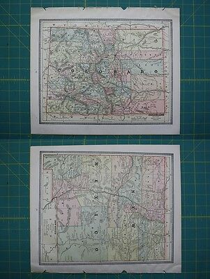 Colorado New Mexico Vintage Original 1885 Cram's World Atlas Map Lot