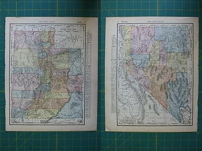 Utah Nevada Vintage Original 1910 Rand McNally World Atlas Map Lot