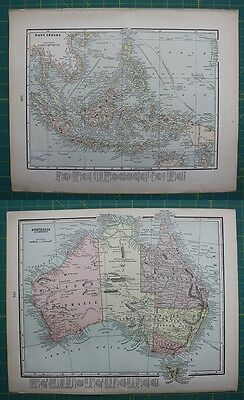 Australia East Indies Vintage Original 1897 Cram's World Atlas Map Lot