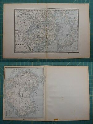 China Australia Vintage Original 1893 Columbian World Atlas Map Lot