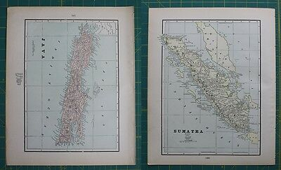 Java Sumatra Vintage Original 1897 Cram's World Atlas Map Lot