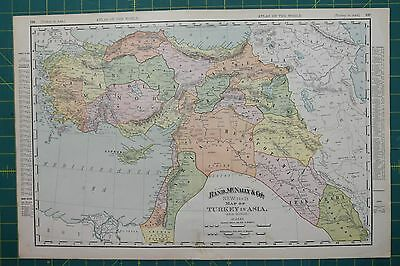 Turkey Vintage Original 1895 Rand McNally World Atlas Map Lot