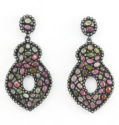 Natural Rose Cut Diamond Tourmaline 925 Solid Sterling Silver Earrings Jewelry