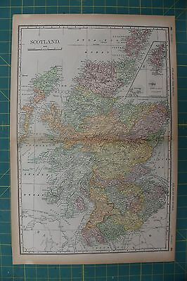 Scotland Vintage Original 1894 Rand McNally World Atlas Map Lot