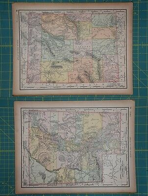 Wyoming Utah Vintage Original 1894 Rand McNally World Atlas Map Lot