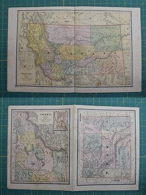 Montana Idaho Wyoming Vintage Original 1886 Cram's World Atlas Map Lot