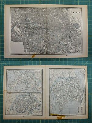 Paris France Switzerland Vintage Original 1893 Columbian World Atlas Map Lot