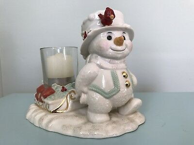 LENOX Fine China SNOWMAN Pulling Sled Votive Holder Figure Christmas