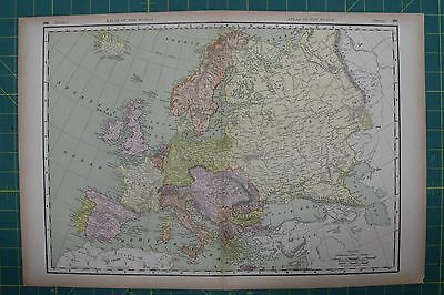 Europe Vintage Original 1894 Rand McNally World Atlas Map Lot