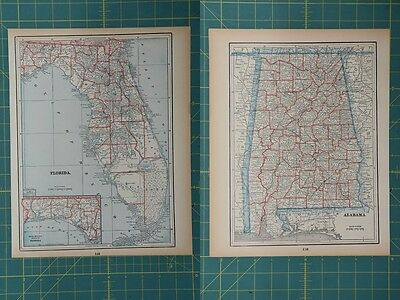 Florida Alabama Vintage Original 1893 Columbian World Fair Atlas Map Lot