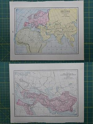 Empire of Alexander The Great Vintage Original 1895 Crams World Atlas Map Lot