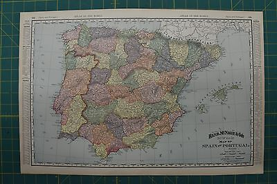 Spain and Portugal Vintage Original 1896 Rand McNally World Atlas Map Lot