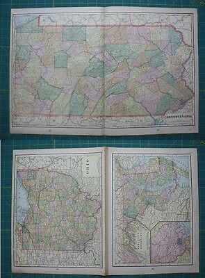 Pennsylvania Ohio Delaware Vintage Original 1899 Cram's World Atlas Map Lot