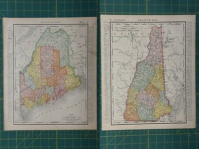 Maine New Hampshire Vintage Original 1896 Rand McNally World Atlas Map Lot