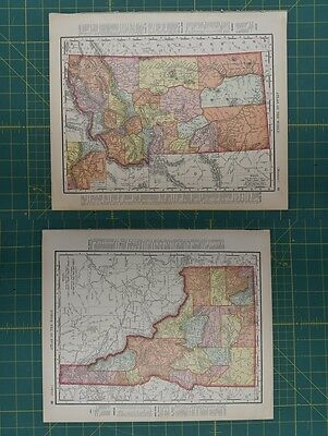 Montana Idaho Vintage Original 1896 Rand McNally World Atlas Map Lot