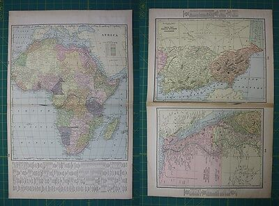 Africa NW NE Africa Vintage Original 1899 Cram's World Atlas Map Lot