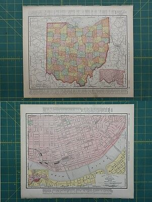 Cincinnati Ohio Vintage Original 1896 Rand McNally World Atlas Map Lot