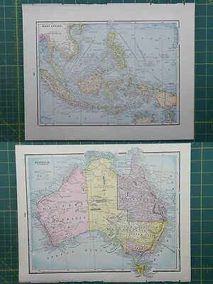 East Indies Australia Vintage Original 1895 Crams World Atlas Map Lot