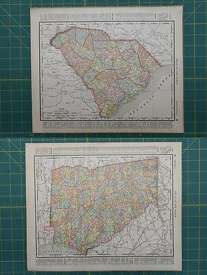 South Carolina Georgia Vintage Original 1896 Rand McNally World Atlas Map Lot