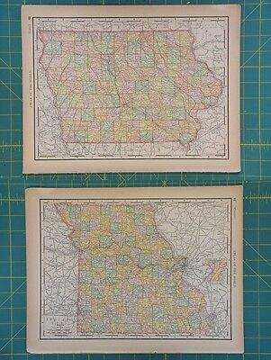 Iowa Missouri Vintage Original 1894 Rand McNally World Atlas Map Lot